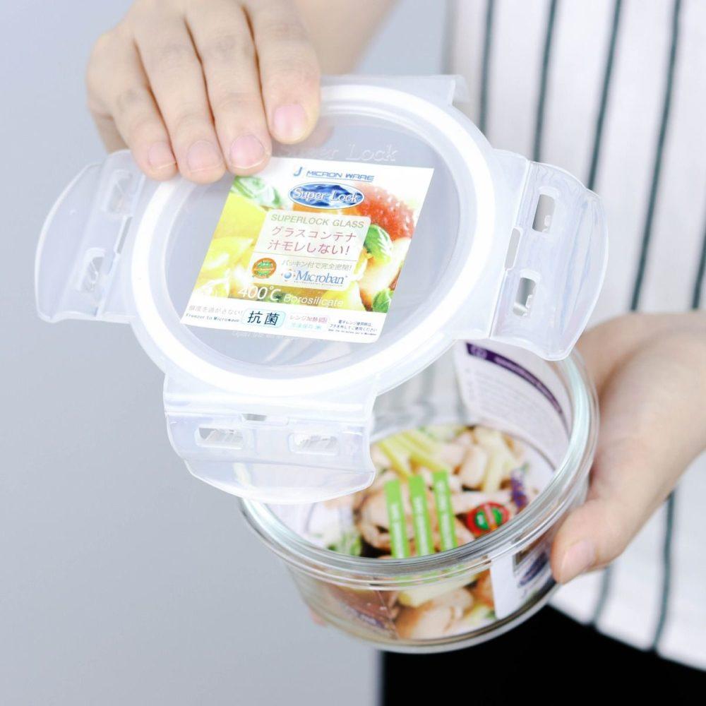 กล่องใส่อาหารทรงกลม แบบแก้ว
