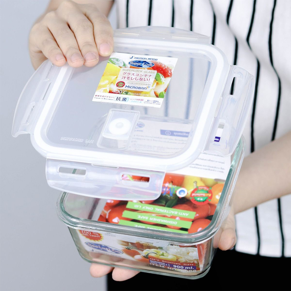 กล่องใส่อาหารแบบแก้ว มีฝาปิด